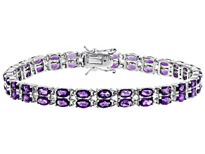 Purple amethyst rhodium over sterling silver bracelet 10.10ctw