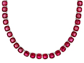 Red lab created ruby rhodium over sterling silver tennis necklace 61.71ctw