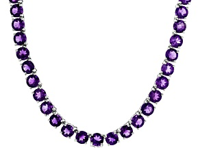 Purple amethyst rhodium over sterling silver necklace 33.46ctw