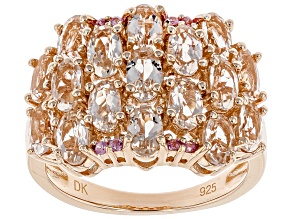 Pink morganite 18k rose gold over silver ring 3.20ctw