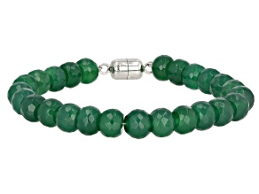 Green Onyx Rhodium Over Sterling Silver Bead Bracelet 68.85ctw