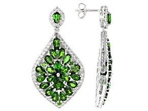 Green Chrome Diopside Rhodium Over Sterling Silver Cluster Earrings 12.08ctw