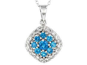 Blue neon apatite rhodium over sterling silver pendant with chain 1.27ctw
