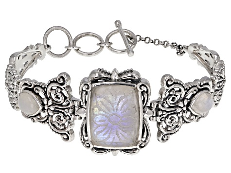 White rainbow moonstone rhodium over sterling silver bracelet