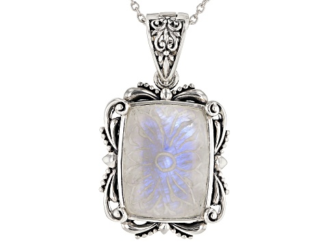 White rainbow moonstone rhodium over sterling silver enhancer with chain