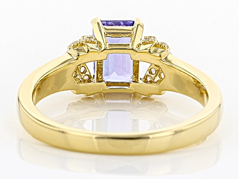 Blue tanzanite 18k gold over silver ring 1.14ctw