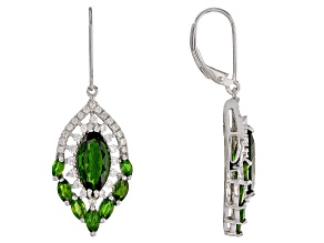 Green chrome diopside rhodium over silver earrings 5.71ctw