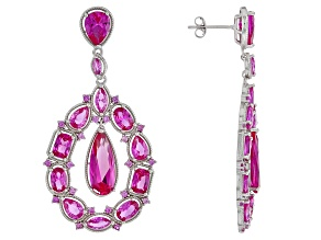 Pink lab created sapphire rhodium over silver earrings 15.49ctw