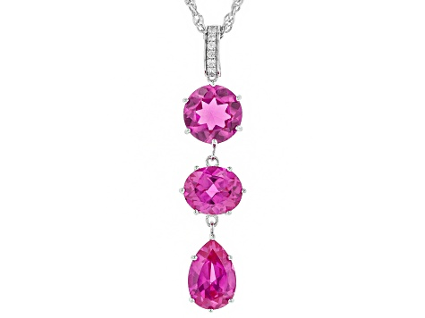 Pink lab created sapphire rhodium over silver pendant with chain 12.97ctw