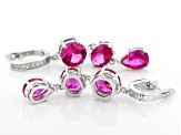Pink lab created sapphire rhodium over silver earrings 12.80ctw