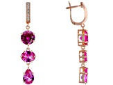 Pink lab created sapphire 18k rose gold over silver earrings 12.80ctw