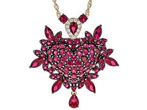 Red lab created ruby 18k rose gold over silver pendant with chain 13.91ctw