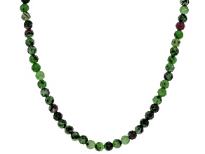 Bi-color Ruby Zoisite Rhodium Over Sterling Silver Bead Necklace 54.00ctw