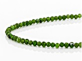 Green Russian Chrome Diopside Rhodium Over Sterling Silver Bead Necklace 33.00ctw