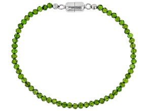 Green Russian Chrome Diopside Rhodium Over Sterling Silver Bead Bracelet 12.00ctw