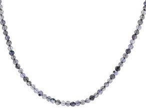 Purple Iolite Rhodium Over Sterling Silver Bead Necklace 24.00ctw