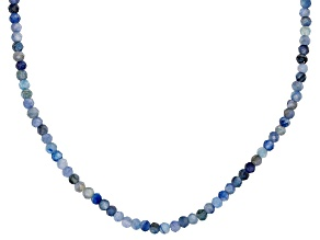 Blue Kyanite Rhodium Over Sterling Silver Bead Necklace 30.00ctw