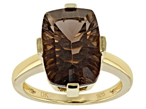 Brown smoky quartz 18k gold over silver ring 5.53ct