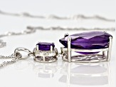 Purple amethyst rhodium over silver pendant with chain 8.92ctw