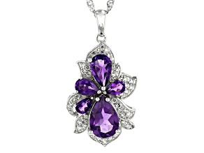 Purple amethyst rhodium over silver pendant with chain 3.60ctw