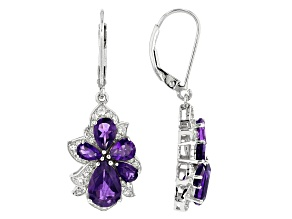 Purple amethyst rhodium over silver earrings 4.68ctw