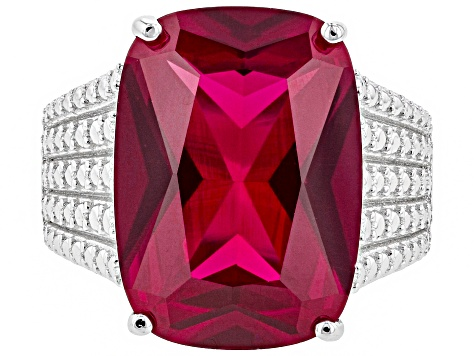 Red lab created ruby rhodium over silver ring 13.51ct