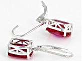 Red Lab Created Ruby Rhodium Over Silver Earrings 5.86ctw