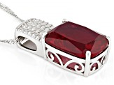 Red lab created ruby rhodium over sterling silver pendant with chain 13.51ct