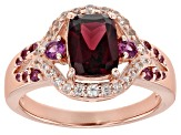 Raspberry Color Rhodolite 18k Rose Gold Over Sterling Silver Ring 1.96ctw