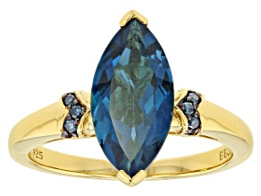 London Blue Topaz 18k Gold Over Sterling Silver Ring 2.84ctw