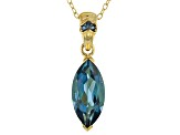 London Blue Topaz 18k Gold Over Silver Pendant With Chain 2.81ctw