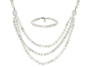 Rainbow moonstone rhodium over sterling silver necklace and bracelet set