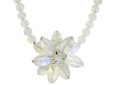 Rainbow moonstone rhodium over silver floral necklace