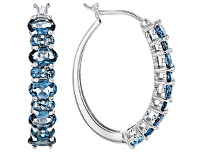 blue topaz rhodium over silver earrings 6.02ctw