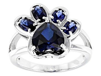 Picture of Blue lab created sapphire rhodium over sterling silver ring 2.56ctw