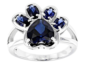Blue lab created sapphire rhodium over sterling silver ring 2.56ctw