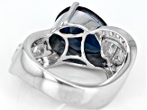 London Blue Topaz Rhodium Over Sterling Silver Ring 4.89ctw