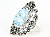 Sky Blue Topaz rhodium over sterling silver ring 6.33ct