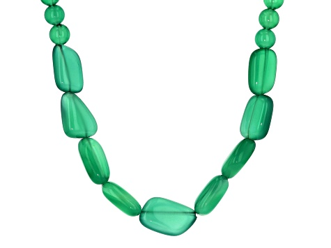 Green Onyx Rhodium Over Silver Bead Necklace