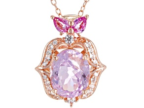 Pink Kunzite 18k Rose Gold Over Sterling Silver Pendant With Chain 3.16ctw