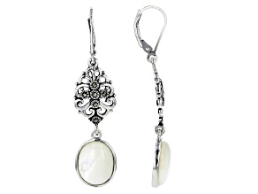 White mother-of-pearl rhodium over sterling silver earrings