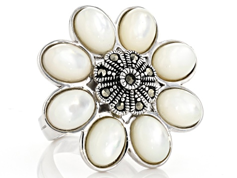 White mother-of-pearl rhodium over sterling silver ring