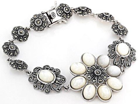 White mother-of-pearl rhodium over silver bracelet