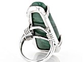 Green malachite oxidized sterling silver ring