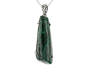 Green malachite oxidized sterling silver pendant with chain