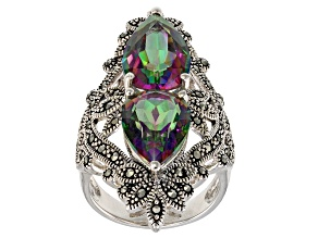 Multi-color quartz rhodium over sterling silver ring 7.04ctw