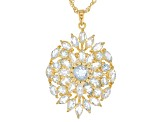 Blue aquamarine 18k gold over silver pendant with chain 4.28ctw