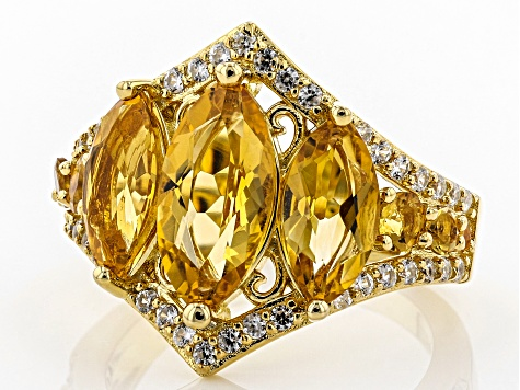 Golden citrine 18k yellow gold over silver ring 3.76ctw