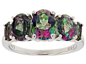 Green Mystic Topaz(R) rhodium over sterling silver ring 3.39ctw