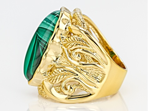 Green Malachite 18k Yellow Gold Over Sterling Silver Solitaire Ring